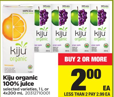 Kiju Organic 100% Juice - 1 L or 4x200 mL