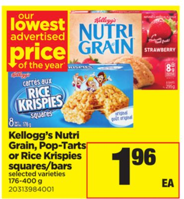 Kellogg's Nutri Grain - Pop-tarts Or Rice Krispies Squares/bars - 176-400 g
