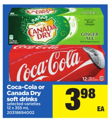 Coca-cola Or Canada Dry Soft Drinks - 12 X 355 mL