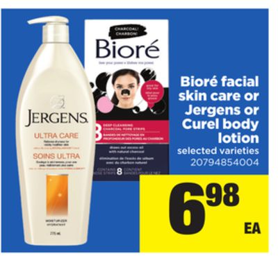 Bioré Facial Skin Care Or Jergens Or Curel Body Lotion