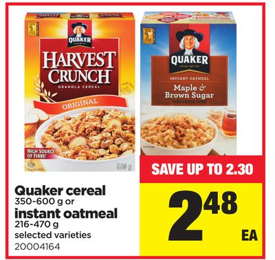 Quaker Cereal - 350-600 G Or Instant Oatmeal - 216-470 G