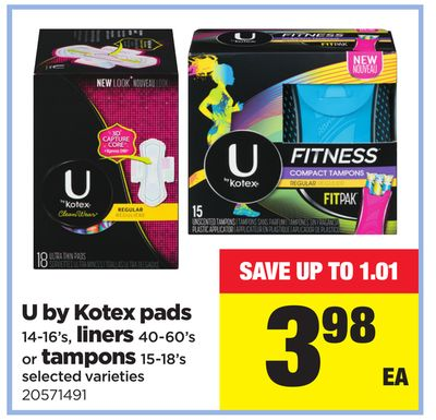 U By Kotex Pads - 14-16's - Liners - 40-60's Or Tampons - 15-18's