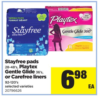 Stayfree Pads - 28-48's - Playtex Gentle Glide - 36's - Or Carefree Liners - 92-120's
