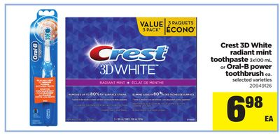 Crest 3D White Radiant Mint Toothpaste 3x100 Ml Or Oral-b Power Toothbrush