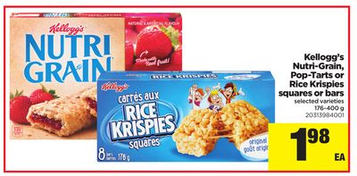 Kellogg's Nutri-grain - Pop-tarts Or Rice Krispies Squares Or Bars - 176-400 g