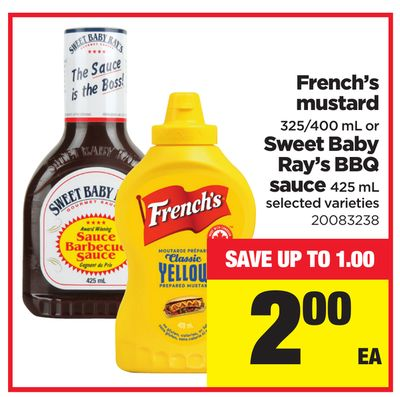 French's Mustard 325/400 mL Or Sweet Baby Ray's Bbq Sauce 425 mL