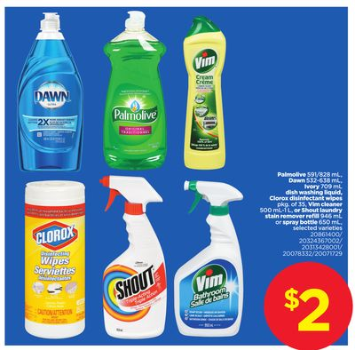 Palmolive - 591/828 Ml - Dawn - 532-638 Ml - Ivory - 709 Ml Dish Washing Liquid - Clorox Disinfectant Wipes - Pkg Of 35 - Vim Cleaner - 500 Ml-1 L - Or Shout Laundry Stain Remover Refill - 946 Ml Or Spray Bottle - 650 Ml