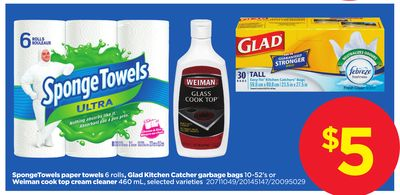 Spongetowels Paper Towels - 6 Rolls - Glad Kitchen Catcher Garbage Bags - 10-52's Or Weiman Cook Top Cream Cleaner - 460 Ml