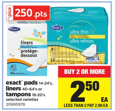 Exact Pads - 14-24's - Liners - 40-64's Or Tampons - 18-20's