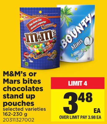 M&m's Or Mars Bites Chocolates Stand Up Pouches - 162-230 g