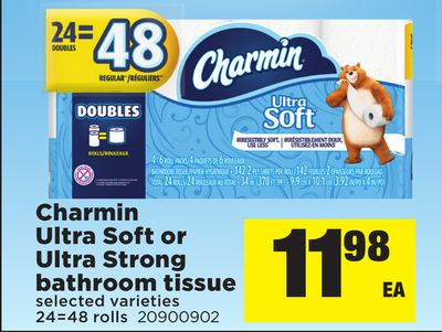 Charmin Ultra Soft Or Ultra Strong Bathroom Tissue - 24=48 Rolls