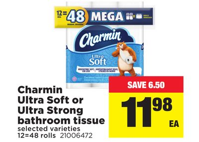 Charmin Ultra Soft Or Ultra Strong Bathroom Tissue - 12=48 Rolls