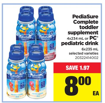 Pediasure Complete Toddler Supplement - 4x234 mL Or PC Pediatric Drink - 6x235 mL