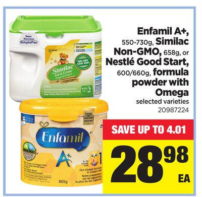 Enfamil A+ - 550-730g - Similac Non-gmo - 658g - Or Nestlé Good Start - 600/660g - Formula Powder With Omega
