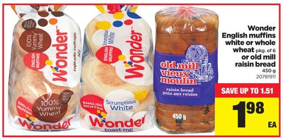 Wonder English Muffins White Or Whole Wheat - Pkg Of 6 Or Old Mill Raisin Bread - 450 G