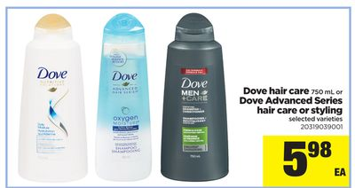 Dove Hair Care - 750 mL Or Dove Advanced Series Hair Care Or Styling