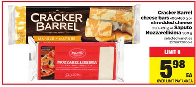 Cracker Barrel Cheese Bars - 400/460 G Or Shredded Cheese - 250-320 G Or Saputo Mozzarellisima - 500 G