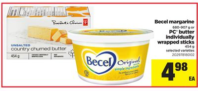 Becel Margarine - 680-907 G Or PC Butter Individually Wrapped Sticks - 454 G