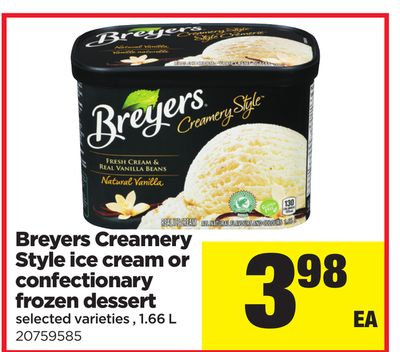 Breyers Creamery Style Ice Cream Or Confectionary Frozen Dessert - 1.66 L