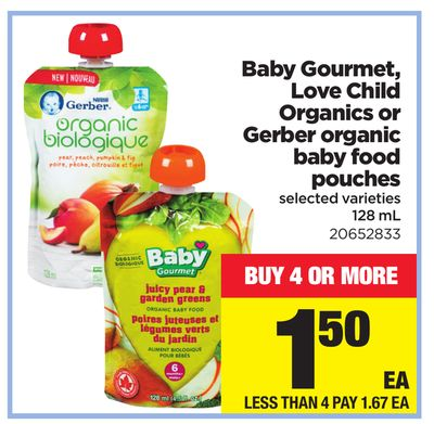 Baby Gourmet - Love Child Organics Or Gerber Organic Baby Food Pouches - 128 mL