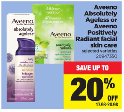 Aveeno Absolutely Ageless Or Aveeno Positively Radiant Facial Skin Care