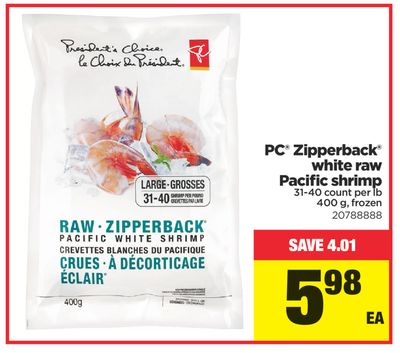 PC Zipperback White Raw Pacific Shrimp - 400 g