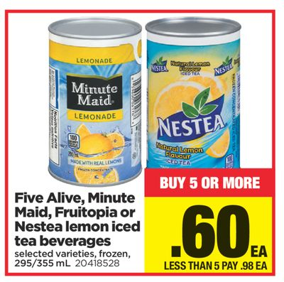 Five Alive - Minute Maid - Fruitopia Or Nestea Lemon Iced Tea Beverages - 295/355 mL