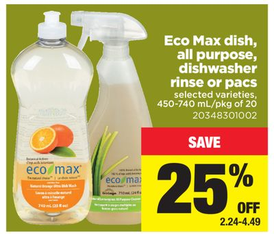 Eco Max Dish - All Purpose - Dishwasher Rinse Or Pacs - 450-740 Ml/pkg of 20