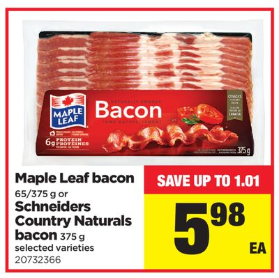 Maple Leaf Bacon 65/375 g - Or Schneiders Country Naturals Bacon - 375 g
