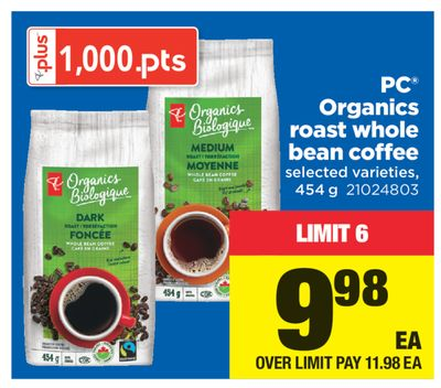 PC Organics Roast Whole Bean Coffee - 454 g