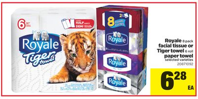 Royale - 8 Pack Facial Tissue or Tiger Towel - 6 Roll Paper Towel