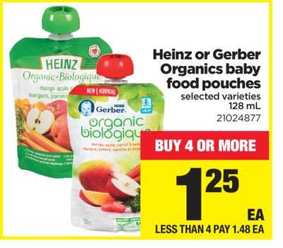 Heinz Or Gerber Organics Baby Food Pouches - 128 mL