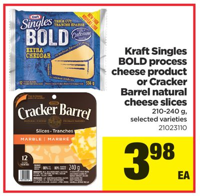 Kraft Singles Bold Process Cheese Product Or Cracker Barrel Natural Cheese Slices - 210-240 g