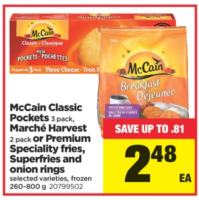 Mccain Classic Pockets 3 Pack - Marché Harvest 2 Pack Or Premium Speciality Fries - Superfries And Onion Rings - 260-800 g