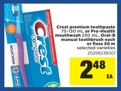Crest Premium Toothpaste 75-130 Ml Or Pro-health Mouthwash 250 Ml - Oral-b Manual Toothbrush Each Or Floss 50 M