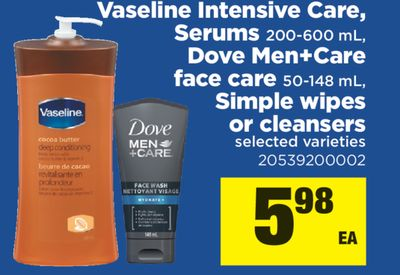 Vaseline Intensive Care - Serums - 200-600 mL - Dove Men+care Face Care - 50-148 mL - Simple Wipes Or Cleansers