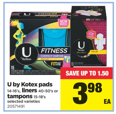 U By Kotex Pads - 14-16's - Liners - 40-50's Or Tampons - 15-18's