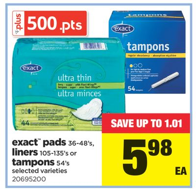Exact Pads 36-48's - Liners 105-135's Or Tampons 54's