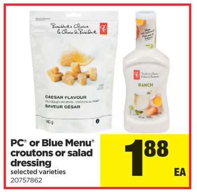 PC Or Blue Menu Croutons Or Salad Dressing