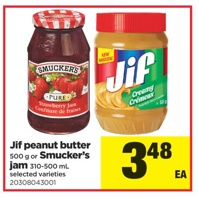Jif Peanut Butter - 500 g or Smucker's Jam - 310-500 mL