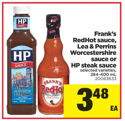 Frank's Redhot Sauce - Lea & Perrins Worcestershire Sauce Or HP Steak Sauce - 284-400 mL