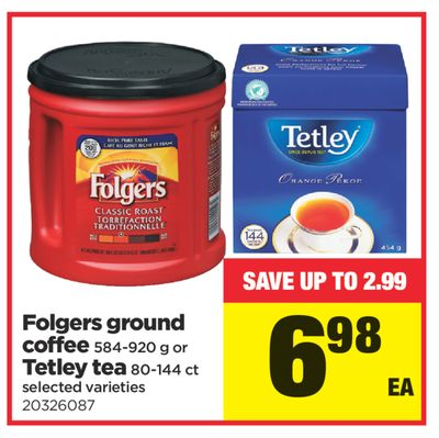 Folgers Ground Coffee 584-920 G Or Tetley Tea 80-144 Ct