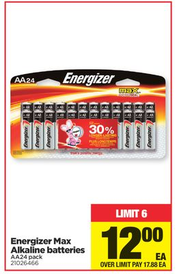 Energizer Max Alkaline Batteries - Aa24 Pack