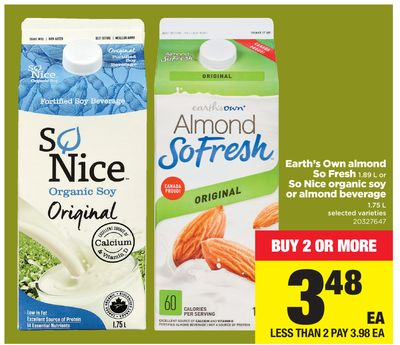 Earth's Own Almond So Fresh - 1.89 L Or So Nice Organic Soy Or Almond Beverage - 1.75 L