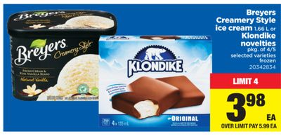 Breyers Creamery Style Ice Cream - 1.66 L Or Klondike Novelties - Pkg Of 4/5