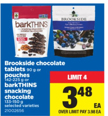 Brookside Chocolate Tablets - 90 G Or Pouches - 142-225 G Or Barkthins Snacking Chocolate - 133-150 G