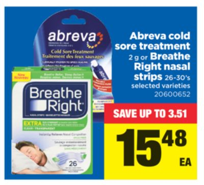 Abreva Cold Sore Treatment 2 G Or Breathe Right Nasal Strips 26-30's