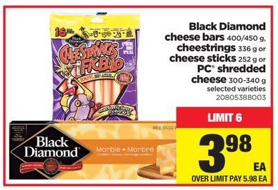Black Diamond Cheese Bars 400/450 G - Cheestrings 336 G Or Cheese Sticks 252 G Or PC Shredded Cheese 300-340 G