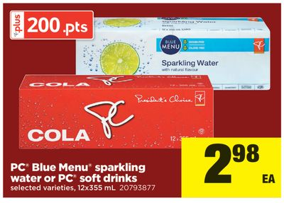 PC Blue Menu Sparkling Water or PC Soft Drinks - 12x355 mL