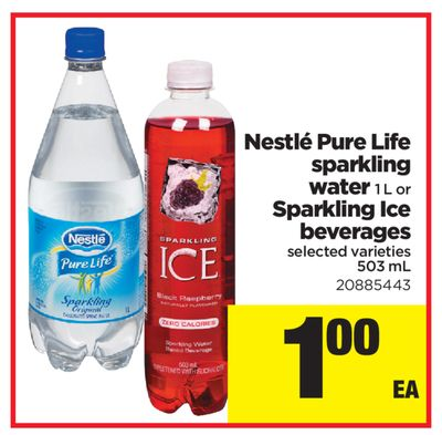 Nestlé Pure Life Sparkling Water 1 L Or Sparkling Ice Beverages - 503 mL